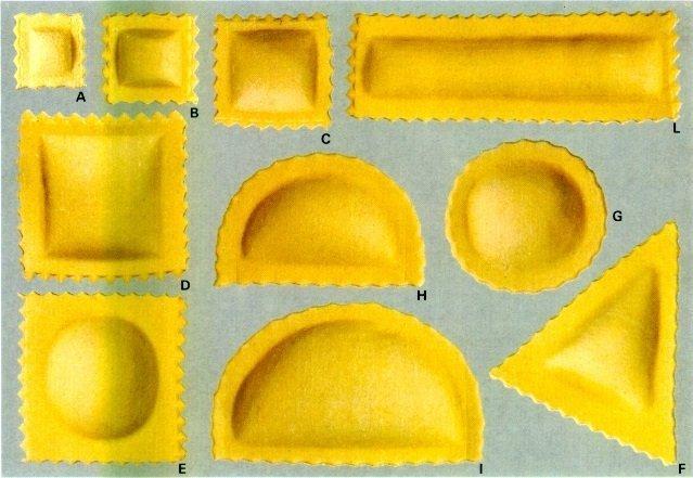 Formats de ravioli Aldo Cozzi peut être fabriqué avec nos produits combinés